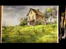 Watercolor Landscape Painting Old little house in the Meadow
