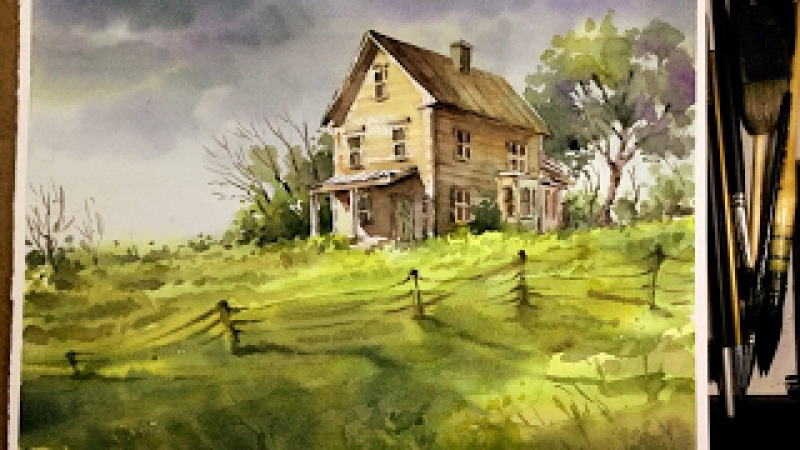 Watercolor Landscape Painting : Old little house in the Meadow