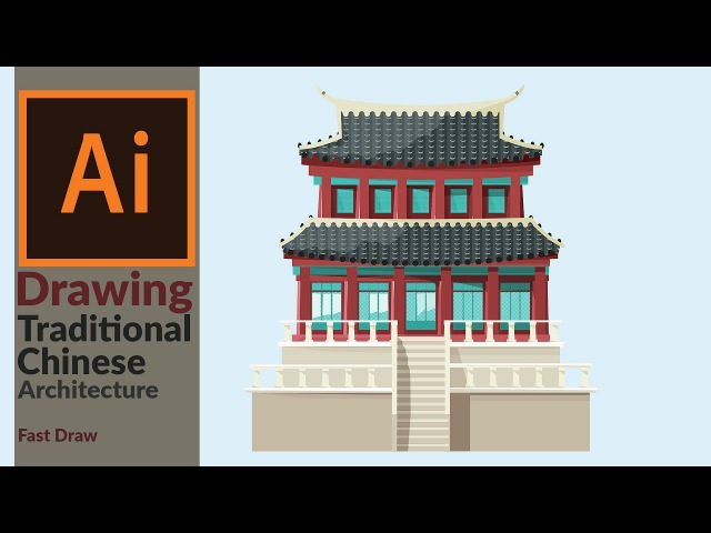 Designing a Traditional East Asian Building in Adobe illustrator   Fast Drawing