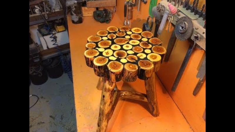 Sanat eseri natural odundan tabure- sehpa yapımı