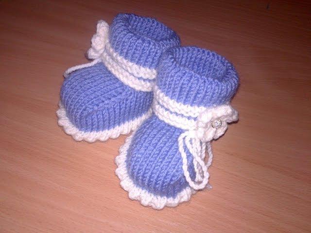 Вязаные пинетки спицами knitting booties.Часть 1.Как связать простые пинетки спицамидля начинающих.