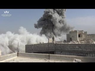 Сирия.11-07-2017.Су-22 ВВС САР наносит бомбовый удар по позициям боевиков в Айн-Терме ,Дамаск