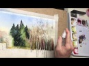 Watercolor demo painting sunny winter day feels like a spring coming