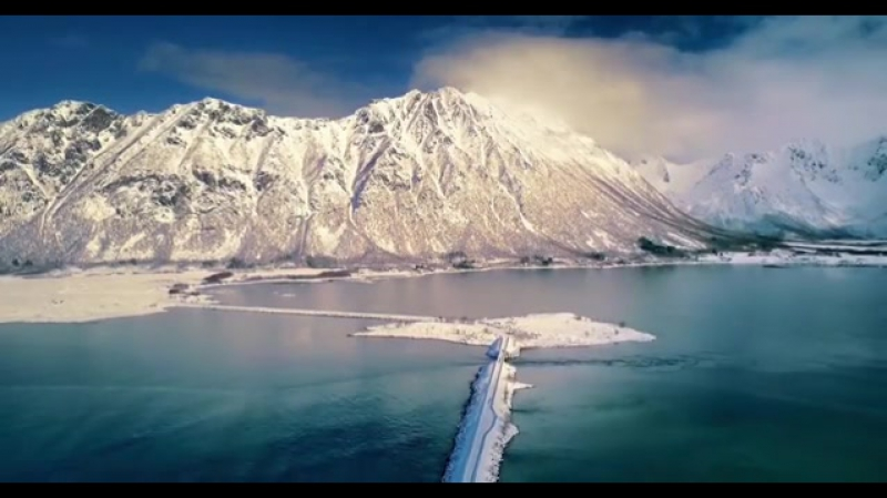 Drone view of Norway's Lofoten Islands