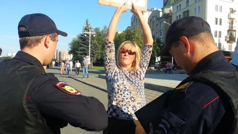 Реакция провокаторов на очередной одиночный пикет в Кемерово.