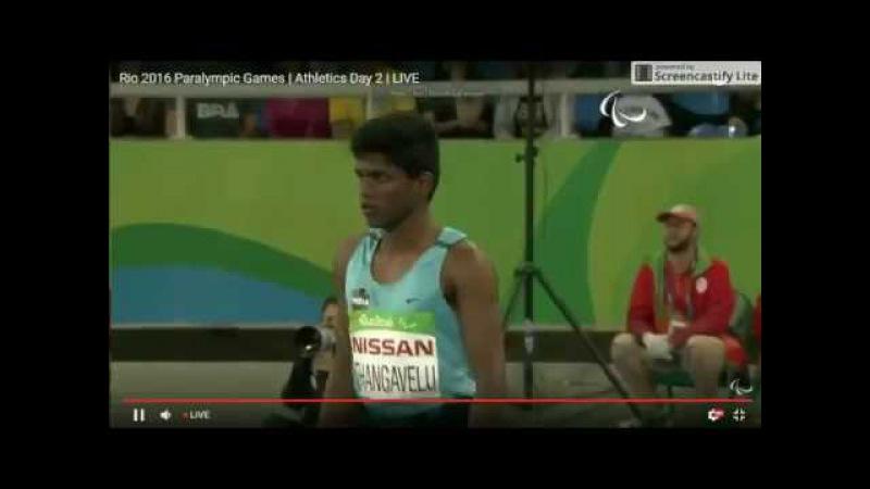 Mariyappan Thangavelu's gold medal jump in Men's T42 High Jump final - Rio 2016 Paralympics