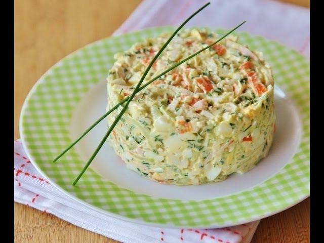 Салат с рыбной консервой и крабовыми палочками