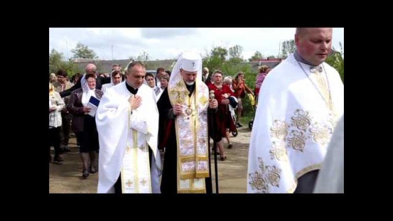 УГКЦ с. Нагачів - Освячення хреста для купола нового храму