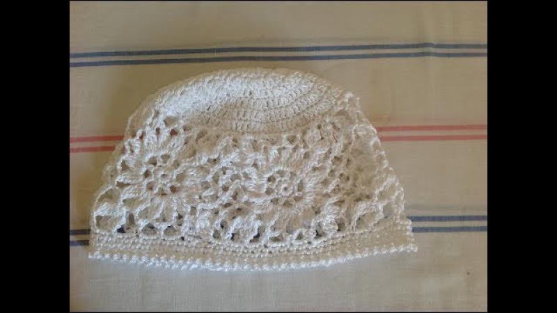Вязание ажурной шапки с цветочным узором,часть1