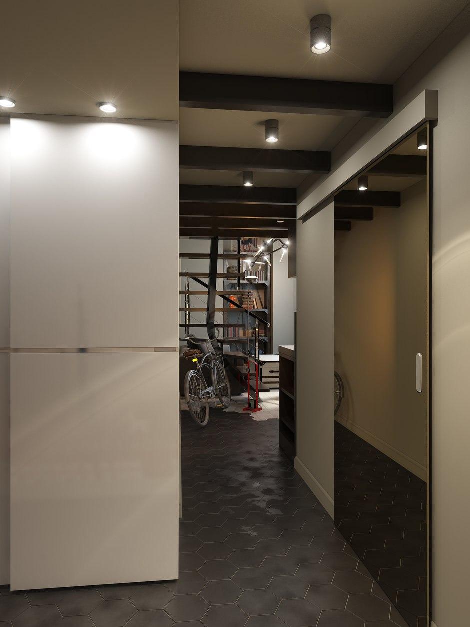 Проект студии 24 м (со вторым уровнем 36 м) в здании бывшей швейной фабрики.