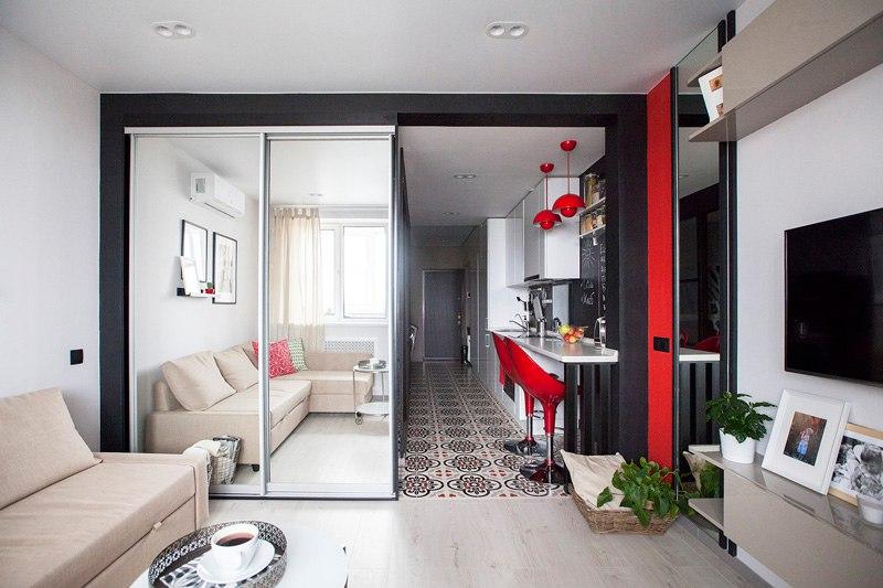Квартира 35 м в Москве от студии дизайна Волковых.