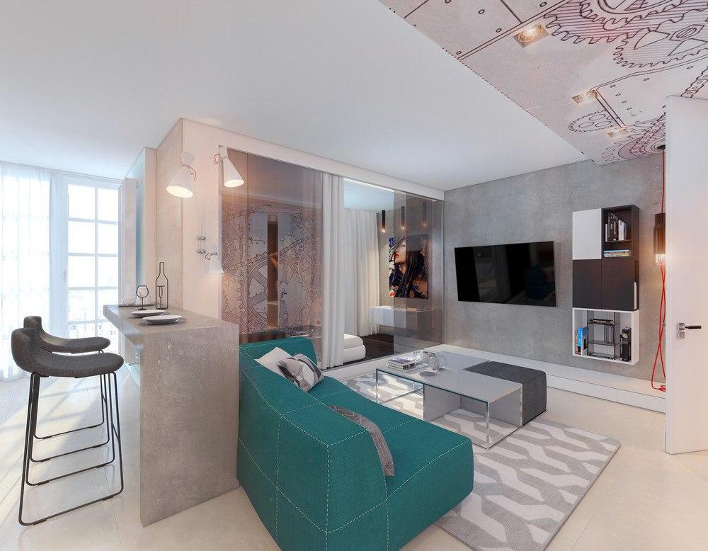 Проект студии 45 м из однокомнатной квартиры.