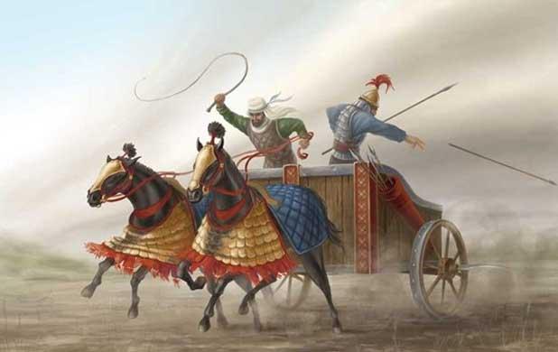 Персидская колесница в бою