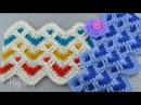 ♥ Волнистый Зиг Заг крючком Узор с сердечками Little Hearts ripple crochet stitch