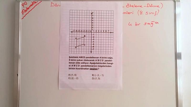 TEOG Dönüşüm Geometrisi Çıkmış Soru Çözümleri (Yansıma - Öteleme - Döndürme) TEOG 2. Sınav