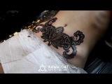 Процесс нанесения татуировки дотворк, мандала