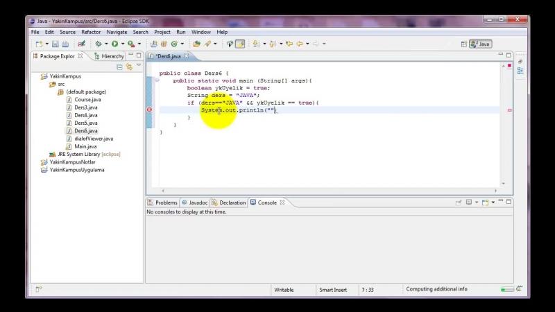 Yakın Kampüs - Java ile Programlamaya Giriş - Ders 6- If Komutu (Part II)