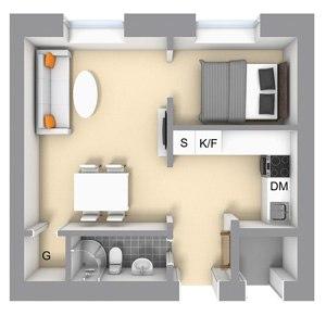 Интерьер квартиры 35 м с мини-спальней и внутренним окном.
