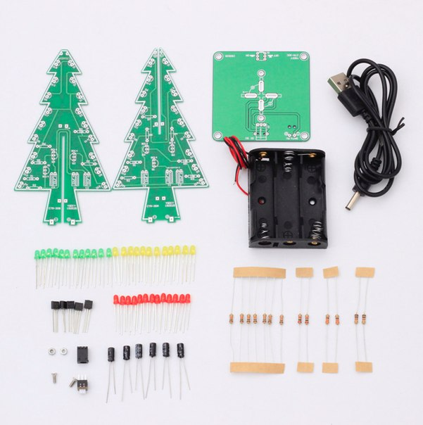 DIY набор для настоящих мужчин!)  https://ru.aliexpress.com/store/product/Three-Dimensional-3D-Christmas-Tree-LED-DIY-Kit-Red-Green-Blue-LED-Flash-Circuit-Kit-Electronic/1829717_32584816522.html?detailNewVersion=&categoryId=400103