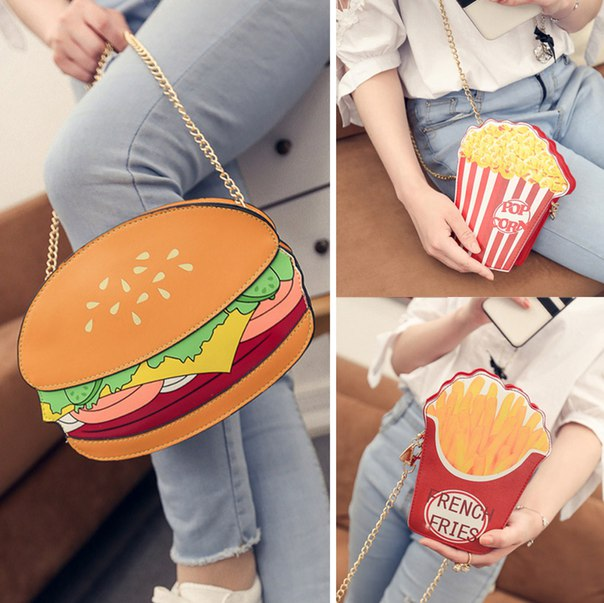 Сумочка для любительниц покушать  https://ru.aliexpress.com/store/product/Funny-Hamburger-Popcorn-Shape-Crossbody-Bag-Small-Crossbody-Bags-For-Women-Cute-Purse-Handbags-Chain-Messenger/1325123_32716904924.html?detailNewVersion=&categoryId=100002856
