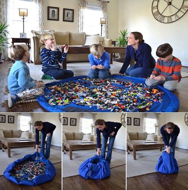 Это просто гениально!  Ковер - сумка для игрушек!