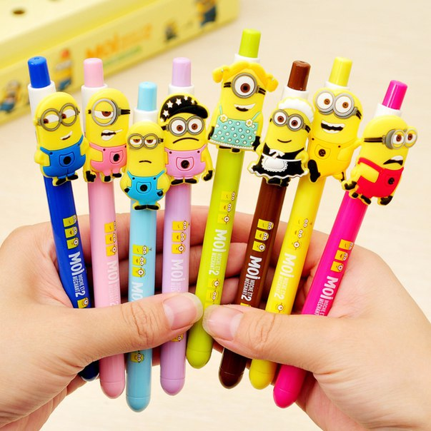 Как вам такие ручки?  https://ru.aliexpress.com/store/product/8-pcs-lot-Cut-kawaii-Korea-stationery-small-yellow-people-Gel-Pen-creative-item-school-office/728077_32337436729.html?detailNewVersion=&categoryId=21110704
