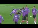 Cristiano Ronaldo Crazy UFC Kick vs Coentrao on Real Madrid Training 05 11 2016