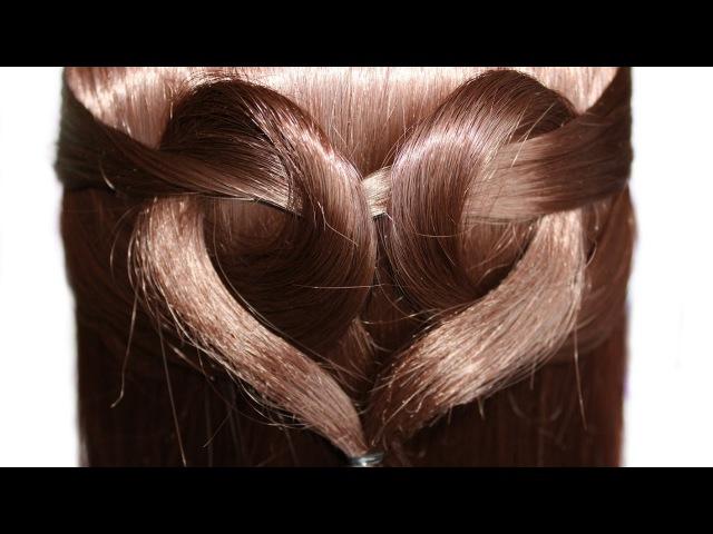 СЕРДЦЕ из волос Причёска для средних и длинных волос на 14 февраля на день святог ...