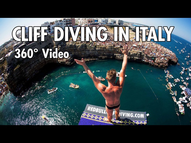 Cliff Diving From a Rocky Ledge in Italy | 360° Video (4K)