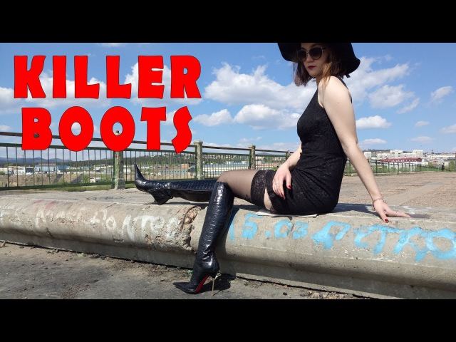 LES BAISERS DES ETOILES Pointy High Heels Fetish Knee Boots Size 39 Killer Stiefel