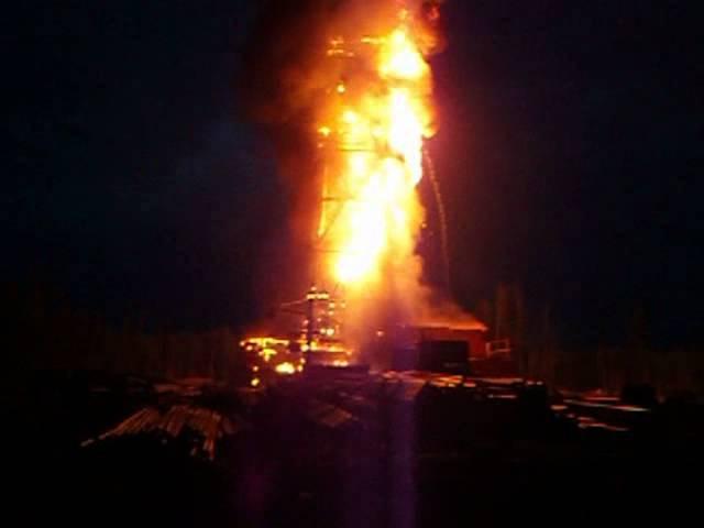 Пожар на буровой Киев Еганская скважина * нефть и газ
