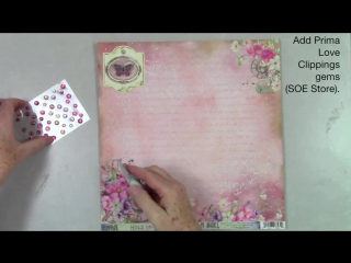 Scraps of Elegance April Kit DIY Precious Moments Mixed Media Layout 49 and Market