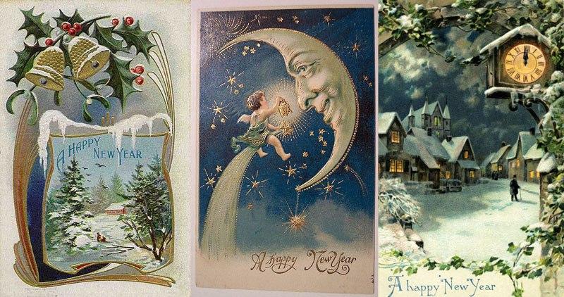 С новым годом в ретро открытках