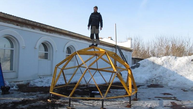 Купол теплицы. Проверка на прочность. V2, D 4m, H 2,3m