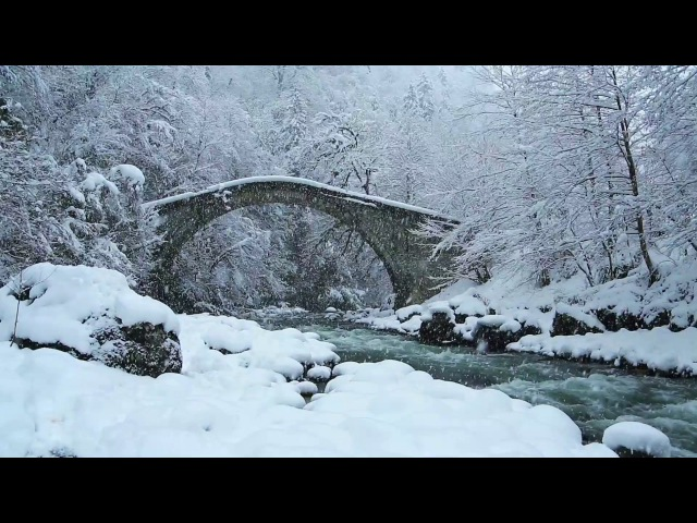 Snowstorm Icy Cold River | Falling Snow Polar Wind | Sounds of Winter
