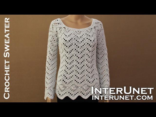 Long sleeve sweater crochet pattern. Learn how to crochet lace pullover.