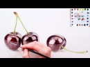 How to paint shiny 3D cherries in watercolor