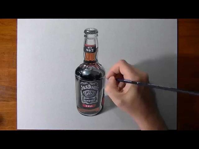 Disegno realistico in timelapse: bottiglia di Jack Daniels e Cola