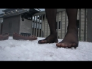 Walking on a layer hail in pantyhose on my porch - Part 1 - massaging my feet