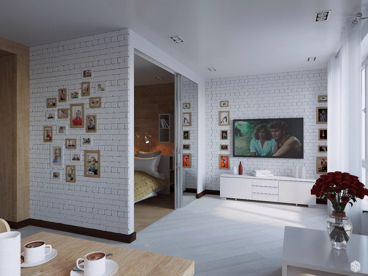 Проект студии 42 м из 1-комнатной квартиры.