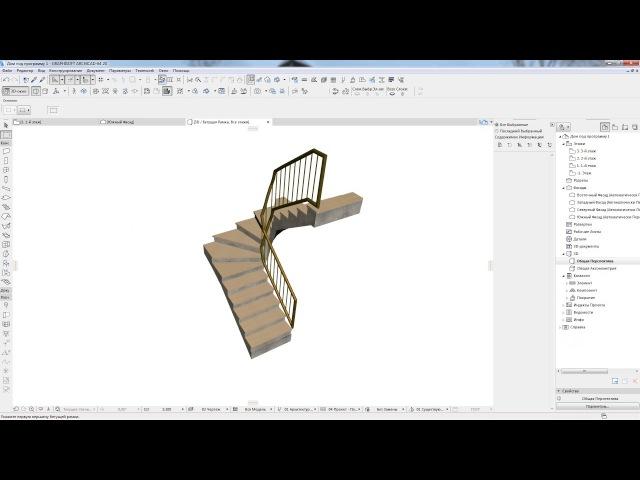 П образная лестница с винтовыми ступенями