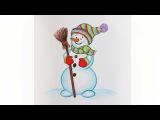 Уроки рисования. Как нарисовать СНЕГОВИКА мелками ArtBerry how to draw a snowman