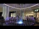 Музыкальный фонтан со светомузыкой и золотым дождём в ТРЦ Океания в Москве .