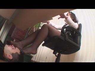 Foot Fetish Office femdom slave under table licking feet