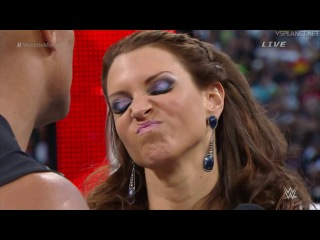 Stephanie McMahon, Triple H, The Rock & Ronda Rousey @ WrestleMania 32