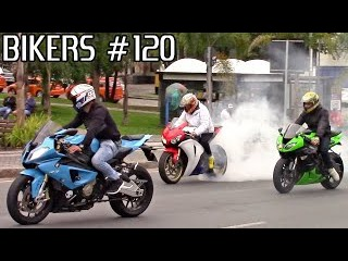 BIKERS #120 - Motorcycle Wheelies, Burnouts, Accelerations & LOUD Exhausts!