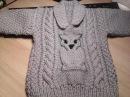 Мастер класс 1ЧАСТЬ детского свитера с совой спицами связанного для мальчика