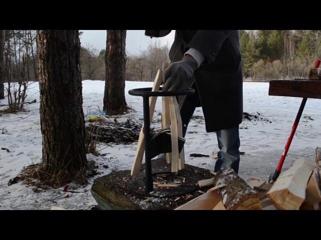Ручной дровокол Kolundrov X4 - быстрый способ колки дров на 4 части