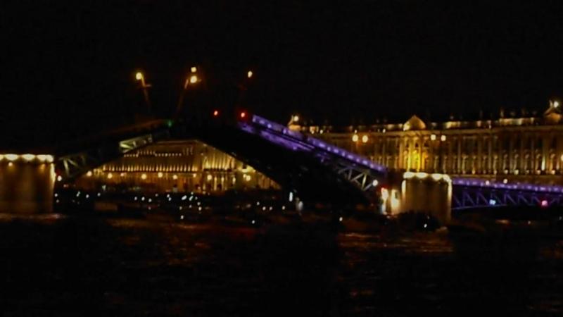 Развод Дворцового моста на набережной Невы