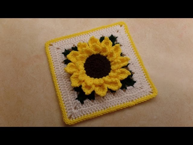 CROCHET How To Crochet Sunflower Granny Square 10